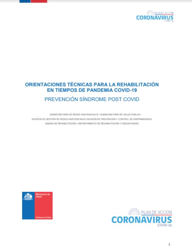 ORIENTACIONES TECNICAS PARA LA REHABILITACION EN TIEMPOS DE PANDEMIA COVID19
